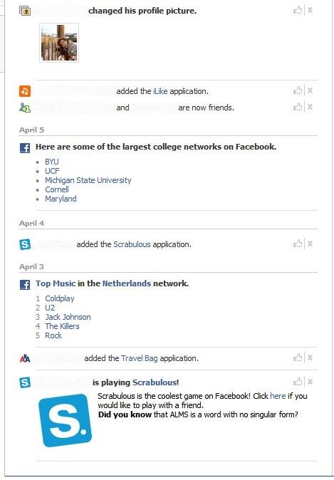 My Facebook newsfeed