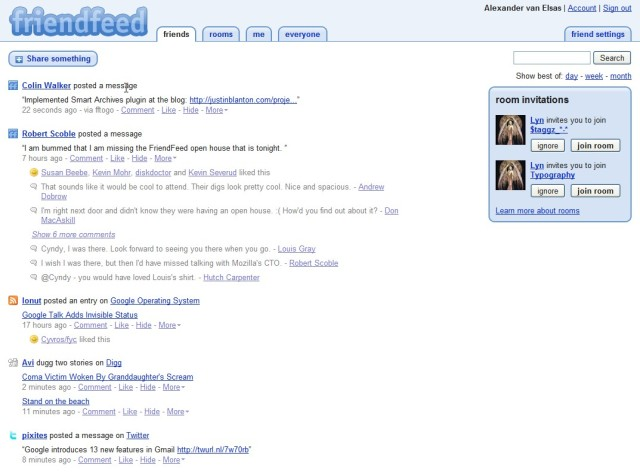 Friendfeed UI
