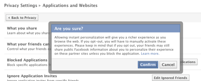 Facebook instant privacy: Warning you not to turn off sharing with everyone